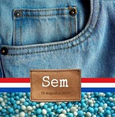 Stoer geboortekaartje voor jongen, met spijkerstof en muisjes. De goedkoopste geboortekaartjes online ontwerpen en bestellen via http://www.geboortepost.nl/geboortekaartjes/foto-zelf-plaatsen/spijkerbroek-jongen-met-foto-vk.html