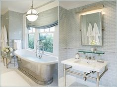 I apply the same philosophy towards my bathroom as I do our bedroom: keep it simple! My only requirements when we built it out were a huge soaking tub (complete with a handheld showerhead), lots of white marble, and a double walk-in shower. Downstairs Bathroom, Master Bathroom, Dream Home Design, House Design, Window In Shower, Bathroom Inspiration, Bathroom Ideas, Dream Bathrooms, White Houses