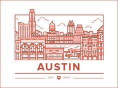 Creative Austin, Office, and Illustration image ideas & inspiration on Designspiration City Illustration, Creative Illustration, Graphic Design Illustration, Typography Logo, Graphic Design Typography, Office Images, Line Design, Map Design, Illustrations