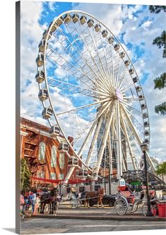"""GreatBigCanvas """"SkyView Atlanta towering over horses and carriages in Centennial Park"""" by Circle Capture Canvas Wall Art, Multi-Color Atlanta Ferris Wheel, Skyview Atlanta, Centennial Park, Canvas Wall Art, Canvas Prints, Park Homes, Nashville Tennessee, Royal Doulton, Fair Grounds"""