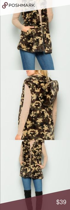 Women's hoodie Camo Camouflage Vest fashion coat Condition New never worn women's camouflage hoodie vest . Material 100% Polyester made in China. Jackets & Coats Vests