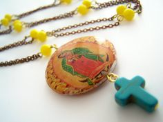 Long Virgen de Guadalupe Necklace, Our Lady Virgin of Guadalupe Pendant with Turquoise Cross and Vintage Rosary Style Chain, Yellow Beads