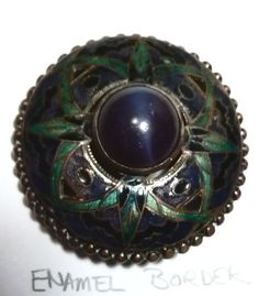 Lot # : 179 - Enamel and Blue Stone Glass in Metal. Stunning