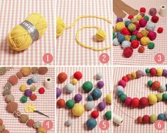 How to make felted wool balls - DROPS Lessons / Technique lessons Informations About How to make fel Felt Crafts Dolls, Yarn Crafts, Diy Crafts, Crafts With Wool, Diy Craft Projects, Yarn Projects, Fabric Beads, Fabric Jewelry, Felt Ball