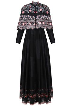 Black anarkali dress with hand embroidered cape available only at Pernia's Pop Up Shop.