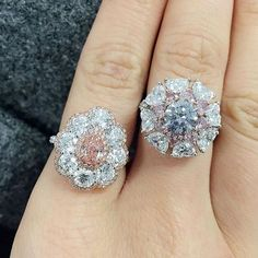 Fancy Orangy-Pink diamond and Fancy Grey diamond rings at our coming private sale in September #ChristiesJewels #christiesprivatesales