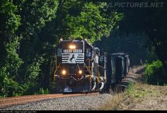 """A veteran set of power leads NS towards Fayetteville. trailing sister has already received an """"admiral"""" cab, the ex SOU high hood's days might be increasingly numbered as the rebuild program takes off. Norfolk Southern, North Carolina, Logan, Trains, Train"""
