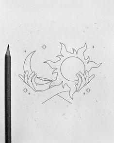 Line Art Tattoos, Tattoo Flash Art, Body Art Tattoos, Small Tattoos, Moon Tattoos, Moon Sun Tattoo, Tattoo Design Drawings, Henna Tattoo Designs, Art Drawings Sketches