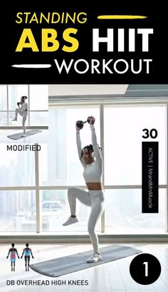 Standing Abs HIIT Workout This is an easy way to get abs without getting on the floor. There are 4 standing abs exercises you must do for 30 seconds each. The post Standing Abs HIIT Workout & FRAUENkram appeared first on Elektronics . Gym Workouts, At Home Workouts, Band Workouts, Sixpack Abs Workout, Workout Fitness, Trainer Fitness, Fitness Exercises, Hiit Abs, Workout Videos
