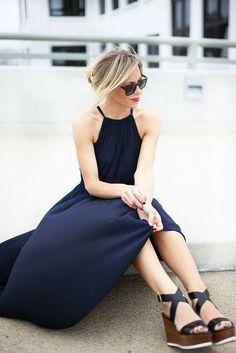Beautiful long black halter dress