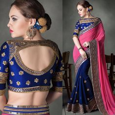 """Designer saree with beautiful embroidered blouse Visit fb page """" imki trendz """" for more details Cotton Saree Blouse Designs, Fancy Blouse Designs, Hand Work Blouse Design, Stylish Blouse Design, Designer Silk Sarees, Designer Party Wear Dresses, Designer Blouse Patterns, Desi Wedding, Wedding Bride"""