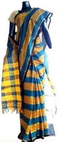 Handloom Cotton Saree- Blue&Yellow: GiftPiper.com- Buy designer sarees, silk sarees, ikat sarees,handloom sarees, ethnic sarees, sarees online
