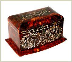 Tortoise Shell Tea Caddy. c. 1850. $3,600.00 on GoAntiques. #decoration #art #tea