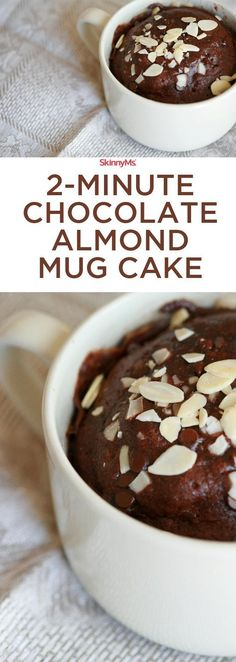 2-Minute Chocolate Almond Mug Cake - Rich, chocolatey decadence in a matter of minutes! #skinnyms #chocolate #healthy #cleaneating