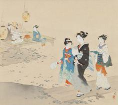 日本 伊藤小坡 (1877-1968) Ito Shoha - Evening Cool at Kamo River (Kamogawa no yûzuzu 鴨川の夕涼) @ 彌陀子 のアルバム :: 痞客邦 PIXNET ::