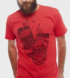 Never underestimate Sunday, the best day for day drinking. This soft, slim fit Sunday Funday T-Shirt is made up of 100% ring spun cotton and available in red. Best with a cold brew, poolside.