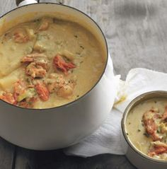 Smoked Salmon Chowder    Courtesy Boundary Bay Brewery and Bistro, as published in Dine in for Maple Valley Inn     8 medium red potatoes, diced (keep in water, or they will brown)  3 large carrots, diced  3 ribs celery, diced  1 large yellow onion, diced  2 Tbsp. minced garlic  ¼ cup white wine  ¼ cup vermouth  4 cups clam juice  1 qt. heavy cream  3 Tbsp. flour  ½ stick butter  1 lb. smoked salmon, broken into smaller chunks  1 Tbsp. fresh thyme, chopped     In a large pot, sauté the…