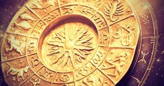 Photo about A gold zodiac wheel over a horoscope. Image of gold, esoteric, astrology - 21603322