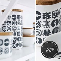 """Beautiful Illustrated storage containers by Swedish Designer - Lotta Odelius named """"Keep"""". #storage, #container, #swedish"""