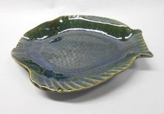 Pottery Fish Plate, Ceramic Fish Plate, Serving Plate in Green