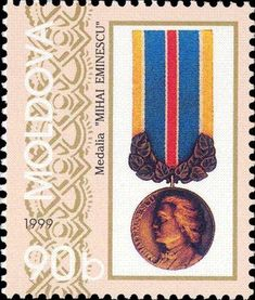 """Sello: Medal """"Mihai Eminescu"""" (Moldavia) (Orders and Medals) Mi:MD 318 Some Image, Postage Stamps, Ephemera, Flags, Design, Countries, Collection, Products, Seals"""