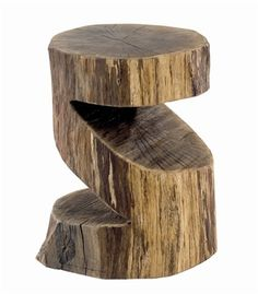 Round 'S' stool. Tree trunk stool. - Cool solid wooden stuff. Loving this super trendy stool from www.solidoak.co.uk