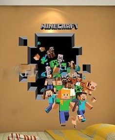 3D MINECRAFT REMOVABLE WALL DECAL | 3D WALL DECALS POPULAR FATHEAD CHARACTERS UNIQUE QUOTES DECALS