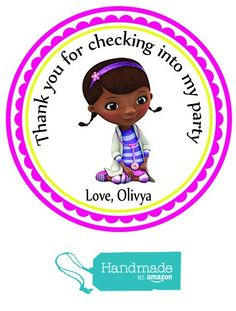 Doc McStuffins Custom Personalized Stickers Birthday Party Favors - Treat Tag Toppers- 24 Stickers Popular Size 2.5 inches. Peel and Stick Backing from Custom Party Favors, Handmade Craft , and Educational Products http://www.amazon.com/dp/B01E66YAW2/ref=hnd_sw_r_pi_dp_zyUoxb0FQHC7H #handmadeatamazon
