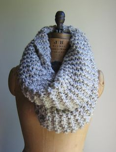 Super Snuggly Chunky knit cowl Oatmeal Infinity by Happiknits, $79.00