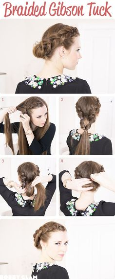 braided gibson tuck for long hair