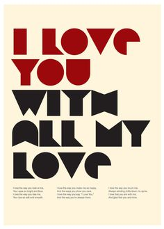 I Love You With All My Love Poster A3 Print by Posterinspired