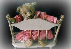 antique Steiff teddy bear on a toy settee ... ca. 1905