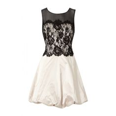 Karen Millen Lace Bubble Dress Black White