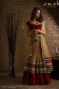 Red velvet and beige lengha by Snob Clothing