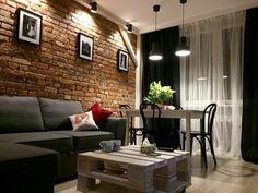 Salon w cegle. Interior Design Living Room Warm, Brick Interior, Home Room Design, Home Interior Design, Living Room Designs, Living Room Colors, Home Living Room, Living Room Decor, Living Spaces