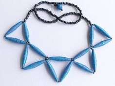 Iridescent blue paper bead necklace by MagdaCrafts on Etsy