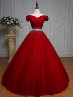 High Quality Off Shoulder Red Prom Dress,Red Tulle Evening Dress,Sexy Off Shoulder Sleeves Red Graduation Dress - High Quality Off Shoulder Red Prom Dress,Red Tulle Evening Dress,Sexy Off Shoulder Sleeves Red Graduation Dress Source by SaymilinNookuma - Red Ball Gowns, Tulle Ball Gown, Ball Gowns Prom, Ball Gown Dresses, Tulle Lace, Flapper Dresses, Red Gowns, Pageant Dresses, Red Wedding Dresses