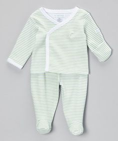 Take a look at this Mint Sweet Stripe Wrap Top & Footie Pants by Mooncakes on #zulily today!