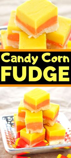 Candy corn fudge is an easy fudge recipe made to look like everyone's favorite Halloween treat -- candy corn! Perfect for Halloween parties! Candy Corn Fudge Recipe, Fudge Recipes, Candy Recipes, Chocolate Recipes, Chocolate Tarts, Chocolate Fudge, Corn Recipe, Halloween Desserts, Holiday Desserts
