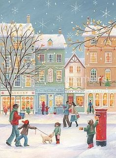 Folk Art Row Houses in Winter Scene Christmas Town, Christmas Scenes, Noel Christmas, Vintage Christmas Cards, Christmas Pictures, Winter Christmas, Christmas Shopping, Illustration Noel, Winter Illustration