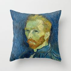 Vincent van Gogh - Self-Portrait Throw Pillow by TilenHrovatic - $20.00