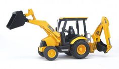 Bruder JCB Midi CX Loader Backhoe. This JCB MIDI CX backhoe loader is made just like the real thing. Detailed loader has steerable front loading arm, 2-position front loading shovel, backhoe that can dig below ground level and more!