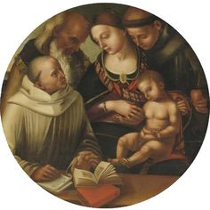 "LUCA SIGNORELLI AND STUDIO CORTONA CIRCA 1450 - 1523 ""THE MADONNA AND CHILD WITH SAINTS BERNARD, ANTHONY OF PADUA AND JOHN THE EVANGELIST   ♡ ♥ X ღɱɧღ"