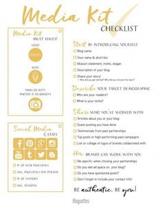 Starting to make your own media kit? Use this checklist to help ensure you're including everything you need from social media handles to testimonials. Check off the items as you go along, and feel free to add anything else that you deem necessar Social Media Content, Social Media Tips, Social Networks, Social Media Packages, Social Media Posting Schedule, Social Media Images, Social Media Influencer, Influencer Marketing, Affiliate Marketing