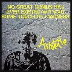 No great genius has ever existed without some touch of madness. - Aristotle