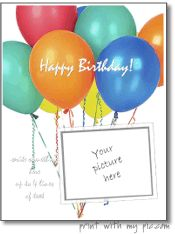 Printable Birthday Picture Frames Free Card Templates To Print Cute Theme Photo