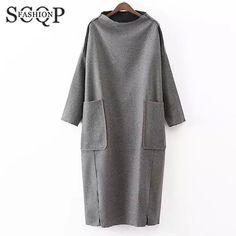Купить товарScqp твердые серый женские платья водолазка карманы клуб женщины зимние платья 2015 с длинным рукавом свободного покроя широкий дамы осень платье в категории Платьяна AliExpress.