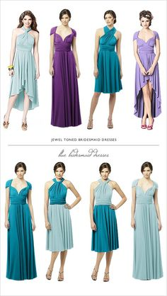 jewel toned bridesmaid dresses in the twist wrap dress by dessy.com
