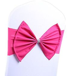 Fvstar 10pcs Spandex Chair Sashes Bows Elastic Chair Bands with Buckle for Wedding Party Decoration (Rose Red)