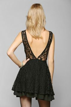 Pins And Needles Deep V-Back Fit & Flare Dress #urbanoutfitters